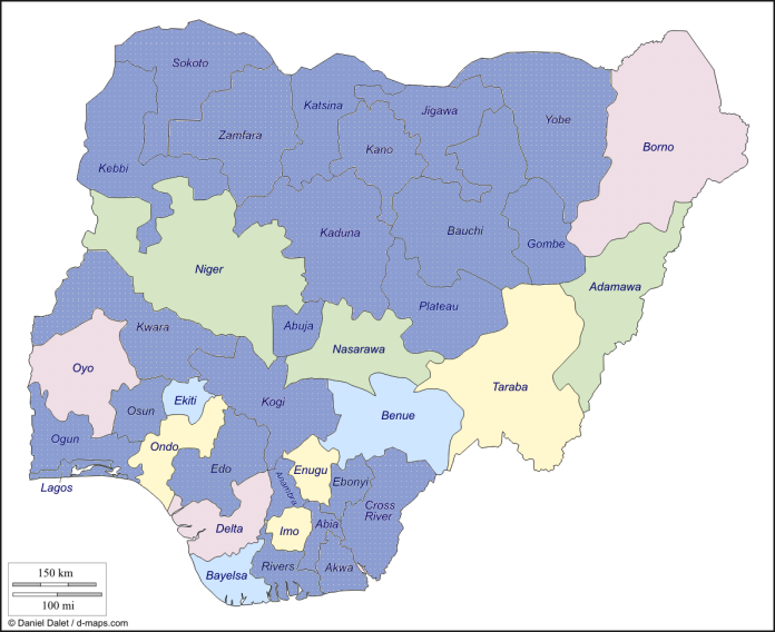 Map of the Nigeria states (in blue EU supported states)