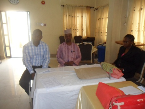 From R-L are Dr Mrs Ogunlaye, state Epidemiologist, Dr Idris, W.H.O co-ordinator and Pharm Wuraola Caleb, VSLC UNICEF at the opening of Health Educators 'meeting in Kwara state, sponsored by EU-SIGN toward community engagement at the grass route.