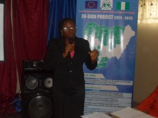 The state Epidemiologist, Dr Mrs Ogunlaye, making her presentation.at the Health Educator's meeting. A demonstration of ownership of the project.